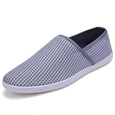 Męskie Buty Tiul Lato Comfort Mokasyny i pantofle Na Casual White Gray Brown