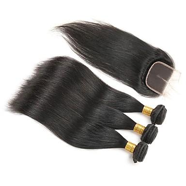 4 zestawy Włosy brazylijskie Prosto Włosy remy Człowieka splotów włosów Ludzkie włosy wyplata Ludzkich włosów rozszerzeniach / Prosta