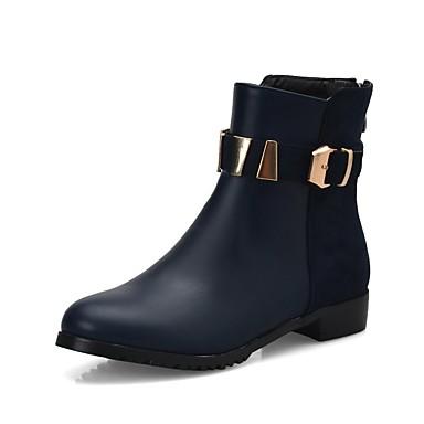 Damen Schuhe Kunstleder PU Winter Komfort Neuheit Stiefeletten Stiefel Runde Zehe Booties / Stiefeletten Schnalle für Kleid Party &