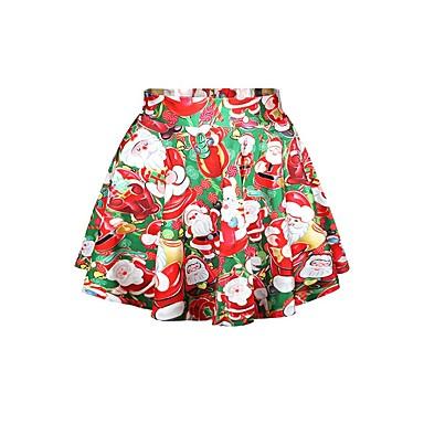 サンタクロース スカート 女性用 クリスマス イベント/ホリデー ハロウィーンコスチューム レッド プリント