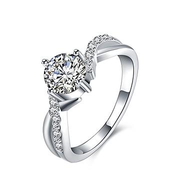 Damskie Kryształ Cyrkon Stop Band Ring - 1 Circle Shape Geometric Shape Klasyczny Modny Silver Pierścień Na Ślub Impreza Urodziny
