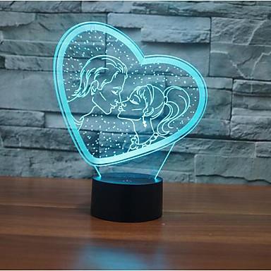 1pc 3D Nachtlicht Touch Control Mit USB-Anschluss 5V Mehrfarbig