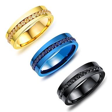 Męskie Cyrkonia Rhinestone Gold Black Granatowy Cyrkonia Stal tytanowa Vintage Elegancki Ślub Party Wieczór Biżuteria kostiumowa