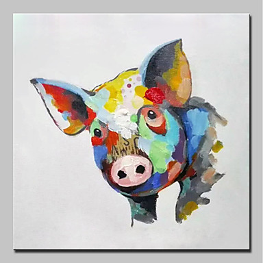 Ręcznie malowane Zwierzęta Kwadrat, Zwierzęta Prosty Nowoczesny Brezentowy Hang-Malowane obraz olejny Dekoracja domowa Jeden panel
