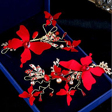 Kamień jubilerski / kryształ Materiał bawełniany Nakrycie głowy Spinka do włosów 2szt Ślub Specjalne okazje Winieta