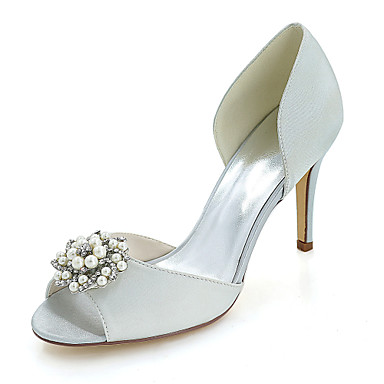 Women s Shoes Satin Spring   Summer Basic Pump Wedding Shoes Stiletto Heel  Peep Toe Rhinestone   Imitation Pearl Blue   Champagne   Ivory 8d7a3420656e