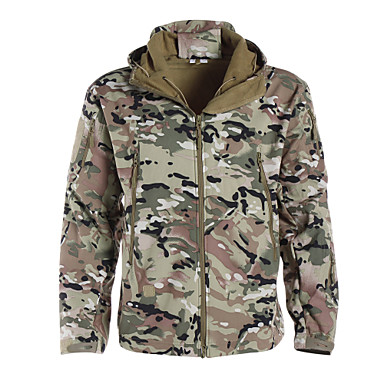 cheap Hunting & Nature-Men's Women's Unisex Camo / Camouflage Camouflage Hunting Jacket Outdoor Waterproof Breathable Ultraviolet Resistant Dust Proof Spring Summer Fall Jacket Softshell Jacket Winter Jacket Camping