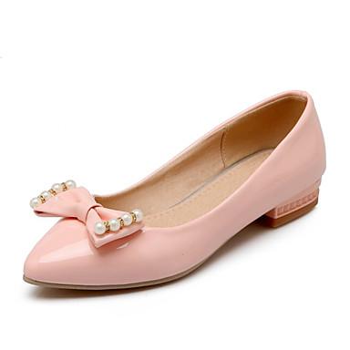Damen Schuhe maßgeschneiderte Werkstoffe Kunstleder Frühling Herbst Komfort Neuheit Flache Schuhe Runde Zehe Schleife Für Kleid Party &