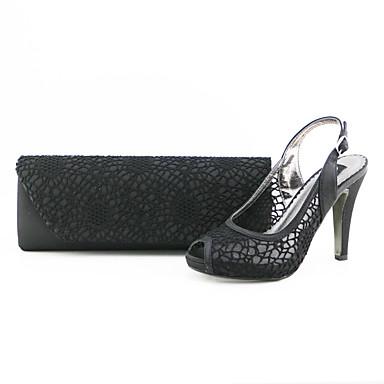 Damen Schuhe Vlies Sommer Komfort High Heels Peep Toe für Normal Party & Festivität Schwarz