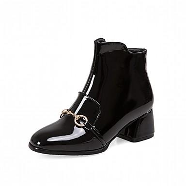 Damen Schuhe Kunstleder PU Winter Modische Stiefel Komfort Neuheit Stiefel Quadratischer Zeh Booties / Stiefeletten Reißverschluss Für
