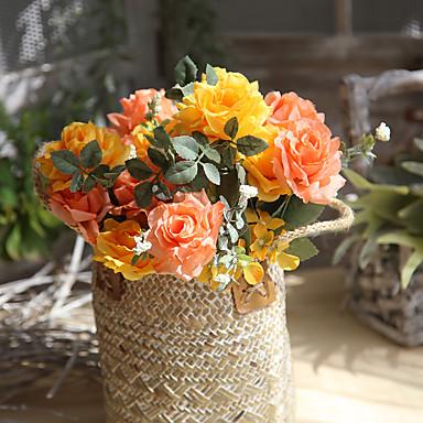 Sztuczne Kwiaty 1 Gałąź Europejski Róże Bukiety na stół