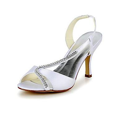 Femme Blanc Soie Evénement Escarpin Chaussures Printemps Soirée Strass Basique Mariage ouvert mariage Eté rond Aiguille 06411607 Chaussures de Bout Talon Bout amp; rFqBr