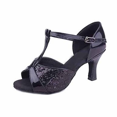 baratos Super Ofertas-Mulheres Paetês / Materiais Customizados Sapatos de Dança Latina Lantejoula Salto Salto Agulha Personalizável Preto / Prata / Marron / Interior / EU40