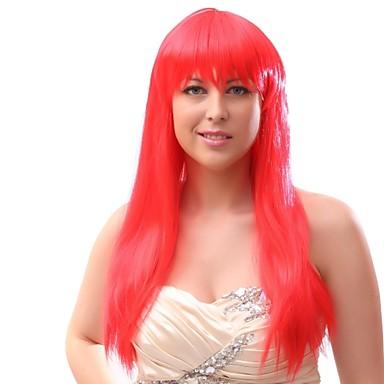 Peruki syntetyczne Włosy syntetyczne Czerwony Peruka Damskie Długo Bez czepka