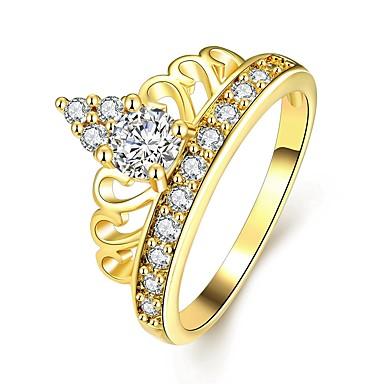 Damskie Band Ring Kryształ 1 Gold Różowe złoto Cyrkon Stop Circle Shape Klasyczny Modny Ślub Impreza Halloween Urodziny Zaręczynowy