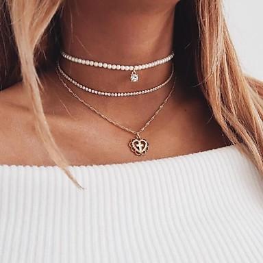 Damskie Pearl imitacja, Rhinestone Naszyjniki z wisiorkami, Oświadczenie Naszyjniki - Imitacja pereł Gold
