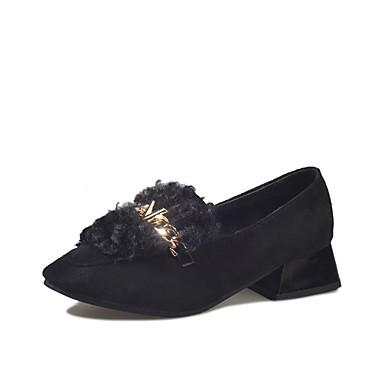 Damskie Obuwie Zamsz Zima Comfort Mokasyny i pantofle Okrągły Toe na Casual Black Brown Khaki