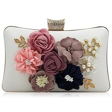 Női Táskák Poliészter Estélyi táska Kristály díszítés   Gyöngydíszítés    Virág Fehér   Fekete   Arcpír rózsaszín 9e234b8f94