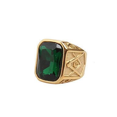 voordelige Herensieraden-Heren Statement Ring Zegelring Kubieke Zirkonia Rood Groen Blauw Zirkonia Titanium Staal Statement Vintage Rock Bruiloft Dagelijks Sieraden Emerald Cut