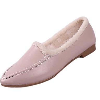 Damskie PU Zima Lekkie podeszwy Mokasyny i buty wsuwane Płaski obcas Okrągły Toe Kozaki Biały / Czarny / Różowy