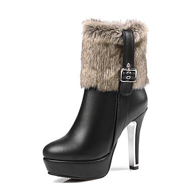 Damen Schuhe Kunstleder Herbst / Winter Modische Stiefel Stiefel Stöckelabsatz / Plattform Runde Zehe Schnalle Weiß / Schwarz / Rot