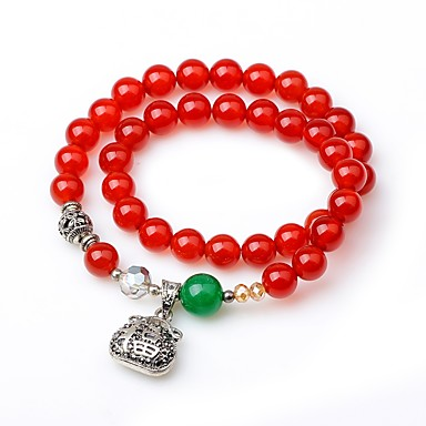 abordables Bracelet-Bracelet à Perles Bracelets Plusieurs Tours Femme Onyx simple Rétro Vintage Bracelet Bijoux Rouge Forme de Cercle pour Cadeau Fête scolaire