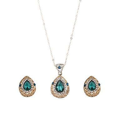 Damskie Kryształ Biżuteria Ustaw - Kryształ Kropla Klasyczny, Moda Zawierać Kolczyki drop Naszyjniki z wisiorkami Złoty Na Impreza Ceremonia