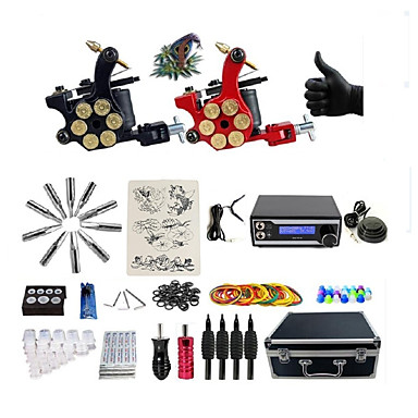 BaseKey Maszynka do tatuażu Profesjonalny zestaw do tatuażu - 2 pcs Maszyna do tatuowania, Profesjonalny / a LED zasilania Etui w komplecie 2 x maszyna rotacyjna tatuaż na podszewki i cieniowania