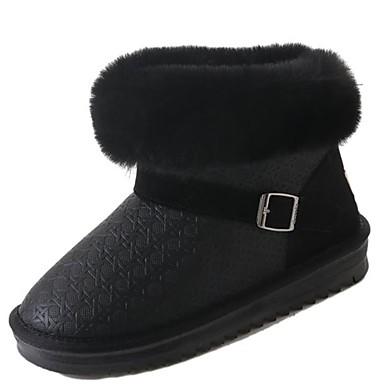 Damskie Obuwie PU Zima Śniegowce / Podszewka Fluff Buciki Platforma Okrągły Toe Kozaczki / kozaki do kostki Klamra Black / Gray
