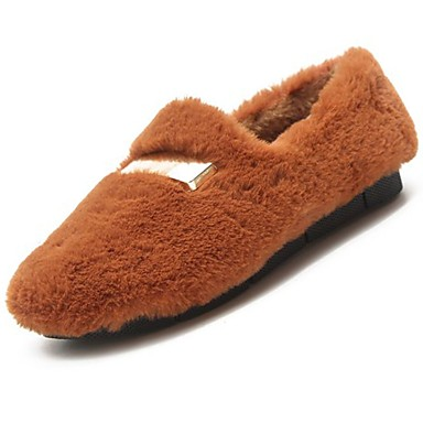 Damskie Kaszmir Zima Wygoda Mokasyny i buty wsuwane Zero Płaski obcas Okrągły Toe Zero / Brązowy / Czerwony / Khaki