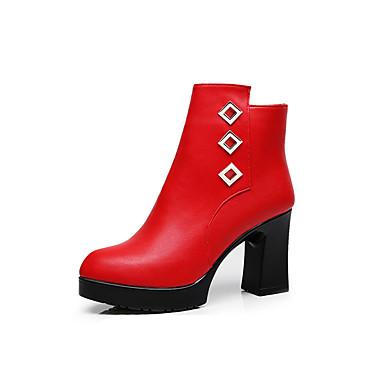 Damen Schuhe Mikrofaser Winter Flaum Futter Stiefel Runde Zehe Booties / Stiefeletten Reißverschluss Schwarz / Rot / Party & Festivität