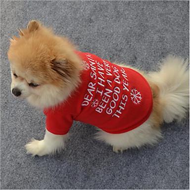 Kot Pies T-shirt Bluzy Ubrania dla psów Litera i numer Czerwony Polary Kostium Dla zwierząt domowych Elegancki Płatek śniegu Codzienne