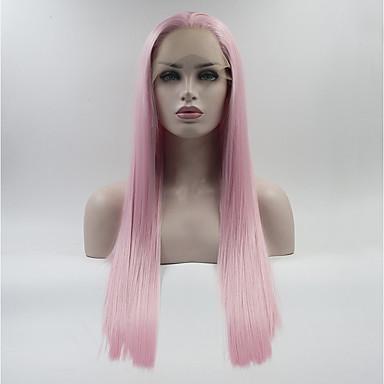 Syntetyczne koronkowe peruki Różowy Włosy syntetyczne Różowy Peruka Damskie Medium / Długo Koronkowy przód