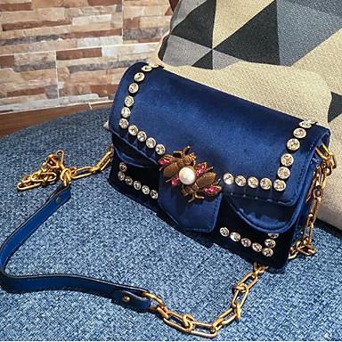 Damen Taschen Samt Unterarmtasche Knöpfe für Winter Blau Schwarz Grau Dunkelgrün Wein