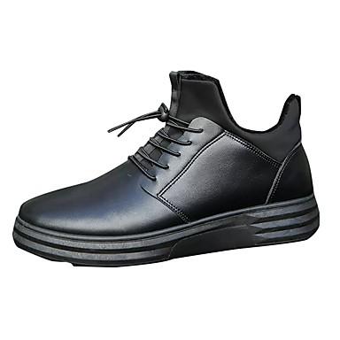 Herrn Schuhe PU Winter Flaum Futter Komfort Sneakers Schnürsenkel für Normal Schwarz