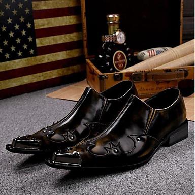billige Oxfordsko til herrer-Herre Novelty Shoes Lær Vår / Sommer Vintage Oxfords Brun / Bryllup / Fest / aften / Nagle / Fest / aften / Komfort Sko