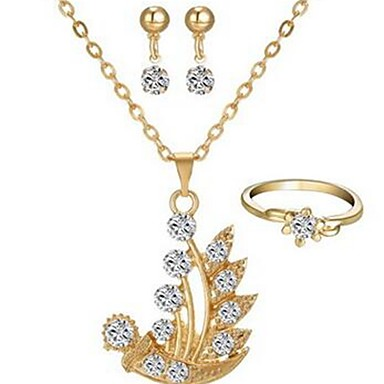 Damskie Biżuteria Ustaw - Imitacja diamentu Klasyczny, Moda Zawierać Kolczyki drop Naszyjniki Złoty Na Codzienny