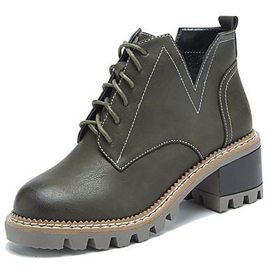 Damen Schuhe PU Winter Komfort Stiefel für Draussen Schwarz Armeegrün Khaki