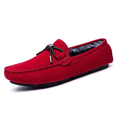 Herren Schuhe Kunstleder PU Herbst Winter Komfort Mokassin Loafers & Slip-Ons Für Normal Schwarz Rot