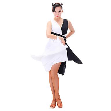 Taniec latynoamerykański Suknie Damskie Wydajność Chinlon Mléčné vlákno Bez rękawów Ubierać