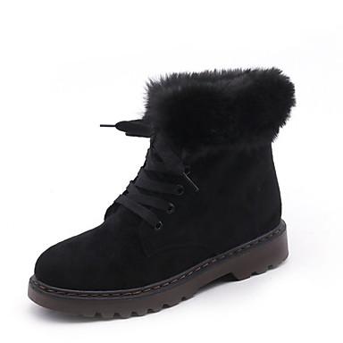 Dame Sko PU Vinter Trendy støvler Støvler Tykk hæl Plattform til Svart Militærgrønn Lysebrun