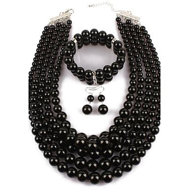 Damen Perle Schmuck-Set - Künstliche Perle Erklärung Einschließen Schwarz Für Normal Party / Ohrringe / Halsketten