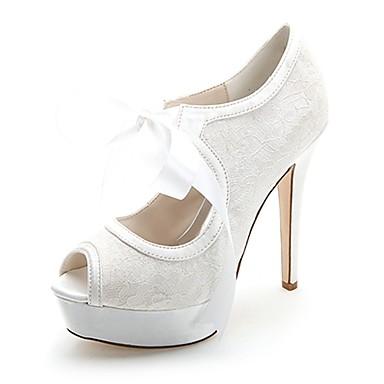 Mujer Zapatos de boda Tacón Stiletto Punta abierta Corbata de Lazo Satén Pump Básico Primavera / Verano Azul / Rosa / Marfil / Boda / Fiesta y Noche / EU37