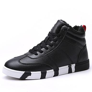 Herrn Schuhe PU Herbst / Winter Komfort Sneakers Weiß / Schwarz