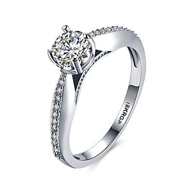 Damskie Band Ring Kryształ 1 Silver Cyrkon Stop Circle Shape Geometric Shape Klasyczny Modny Ślub Impreza Urodziny Zaręczynowy Prezent