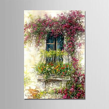 Ręcznie malowane Kwiatowy/Roślinny Pionowy, Nowoczesny Brezentowy Hang-Malowane obraz olejny Dekoracja domowa Jeden panel