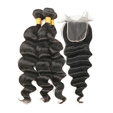 Włosy indyjskie Włosy remy Luźne fale Ludzkie włosy wyplata 4szt Człowieka splotów włosów