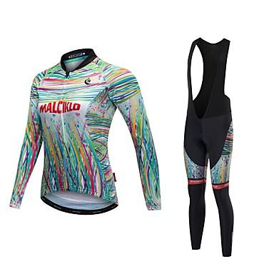Malciklo Damskie Długi rękaw Koszulka i spodnie z szelkami na rower - White Black Rower Zestawy odzieży, Quick Dry, Anatomiczny kształt,