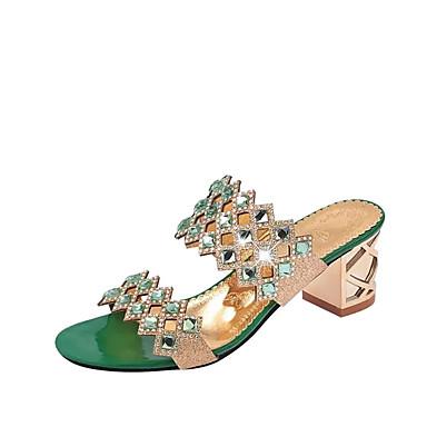 Dame Sko PU Sommer Komfort Sandaler Tykk hæl Blokker hælen Krystall Hæl Spisstå Krystall til Formell Gull Rød Grønn Blå