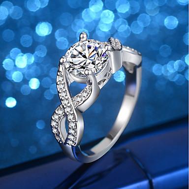 Damskie Pierścionek zaręczynowy Band Ring Cyrkonia Rhinestone Silver Cyrkonia Srebrny Ślub Party Wieczór Biżuteria kostiumowa
